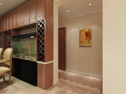 新中式风格室内玄关彩色壁画装饰效果图