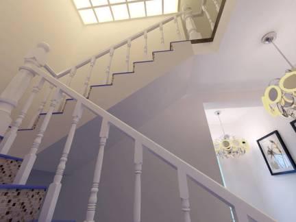 地中海风格复式楼实木楼梯扶手装修设计