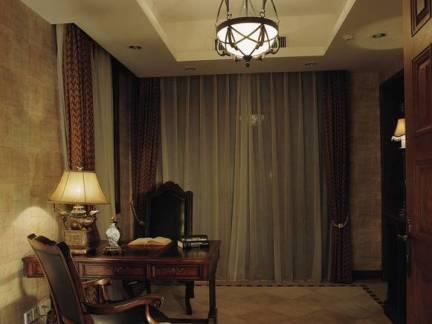 美式别墅书房吊顶窗帘设计图