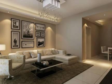 简约美式客厅灰色调复古沙发深色茶几地毯装修效果图