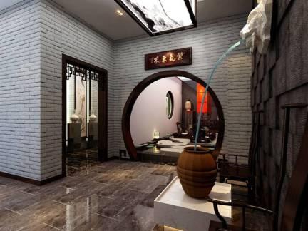中式古典茶馆玄关喷泉装修效果图