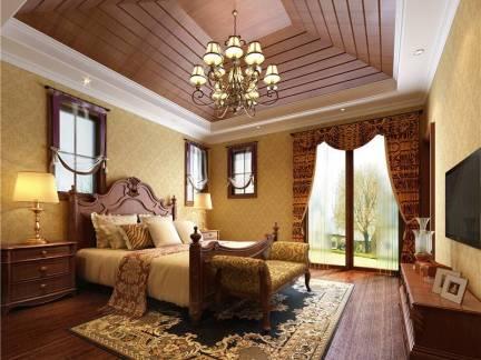 古雅地中海卧室吊顶背景墙窗帘效果图