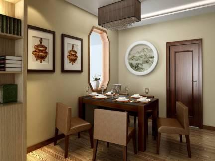 中式风格三室两厅餐厅墙面挂画装修设计