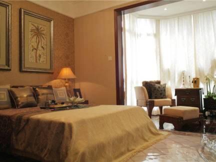中式风格四居室卧室窗帘装修设计