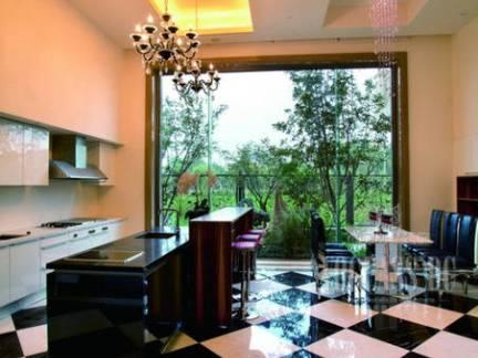 混搭风格公寓开放式厨房吊顶图片欣赏
