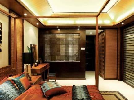 艳丽东南亚风格卧室集成吊顶效果图