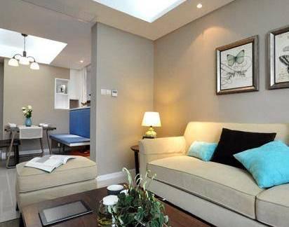 现代简约风格三室两厅客厅实木茶几装修设计