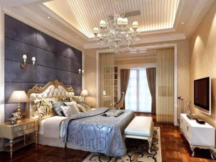 唯美华丽欧式卧室吊顶背景墙装修案例