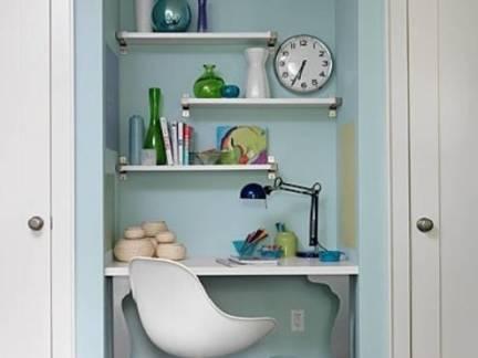 美式风格小户型客厅阅读角书桌装修设计