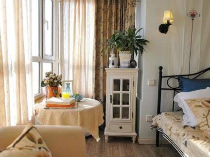 田园风格小户型卧室窗帘装修设计