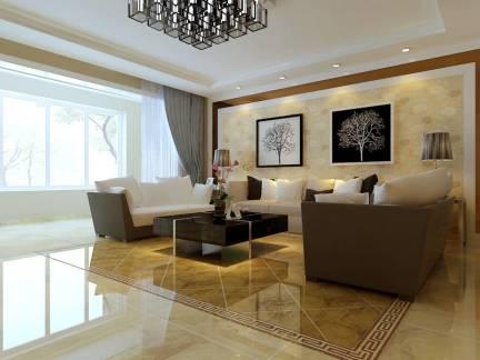 豪华客厅背景墙抛光瓷砖地板装修设计