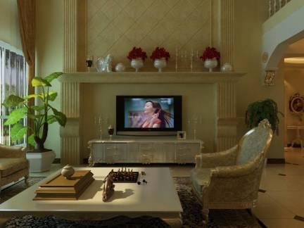 豪华别墅客厅电视柜摆件装修效果图