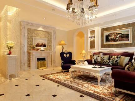 奢华欧式风格三居室客厅沙发背景墙设计