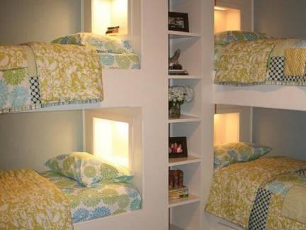 简约卧室上下铺组合床头柜装修图片