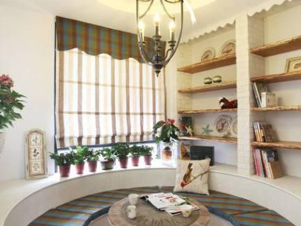 优雅地中海风格客厅书架装修设计