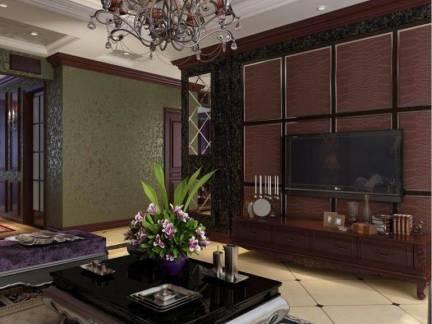 柔紫迷醉新古典宅客厅吊顶电视背景墙效果图