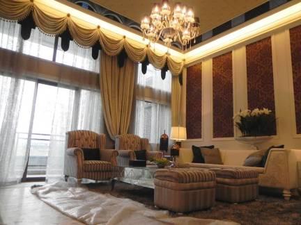 现代简约欧式风格别墅客厅窗帘设计特效