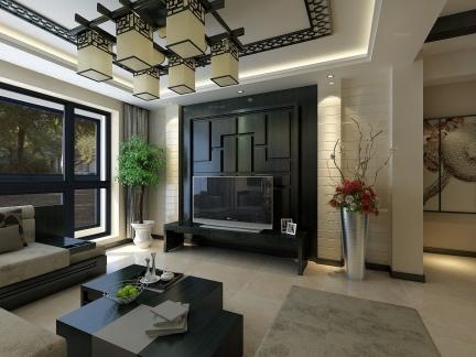 宁静中式风格客厅电视背景墙图片欣赏