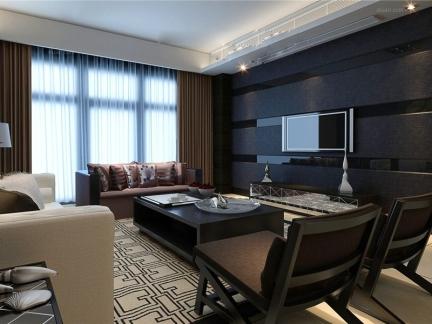 现代简约三居室客厅电视背景墙图片欣赏