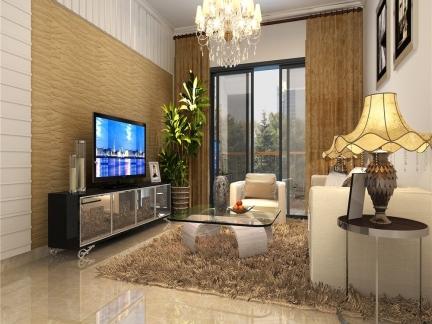 普通公寓开放式客厅仿木壁纸电视墙效果图欣赏