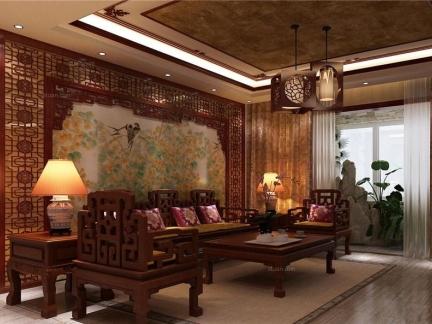 中式古典风格客厅红木家具装修设计