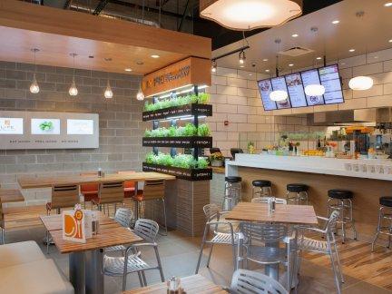 小型快餐店室内隔断设计装修图片