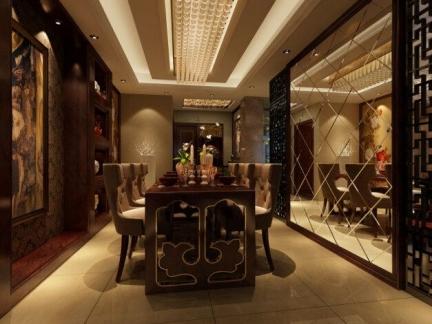 新中式风格别墅餐厅镜面墙设计特效图