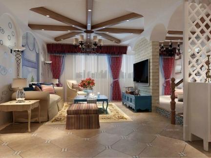 品味浪漫地中海三室一厅客厅吊顶效果图