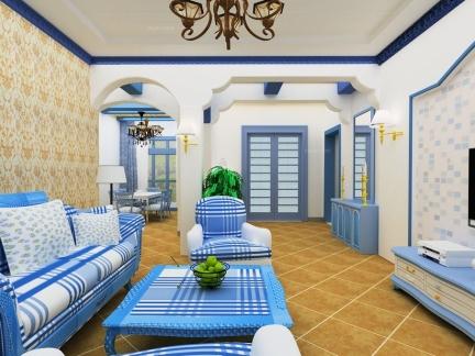 徜徉自在地中海风格客厅沙发背景墙图片