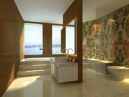 奢华别墅大型淋浴间拼花瓷砖装修效果图