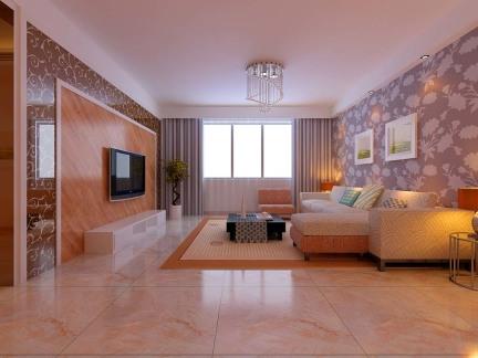 120平米客厅印花抛光地砖装修设计
