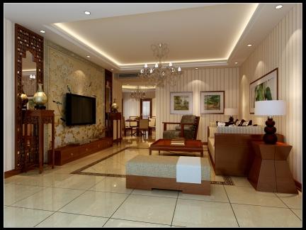 现代中式客厅吊顶电视背景墙照片墙设计图