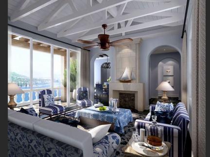 地中海小型客厅吊顶图片欣赏