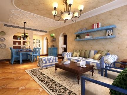 地中海风格别墅客厅置物架装修效果图