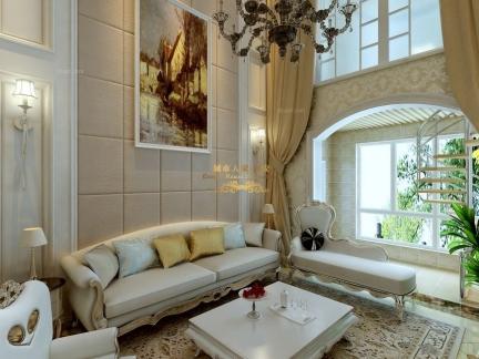 西方典雅欧式别墅客厅沙发背景墙效果图