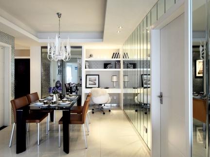 四居室现代简约风格餐厅背景墙装修设计