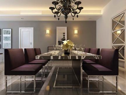 现代工业混搭餐厅吊灯紫色餐椅效果图