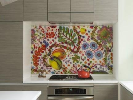创意个性现代厨房彩绘壁纸装饰图片