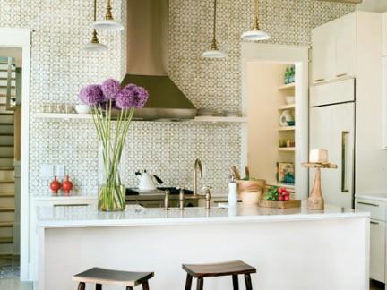 清新优美田园风格厨房吧台吊顶样板间