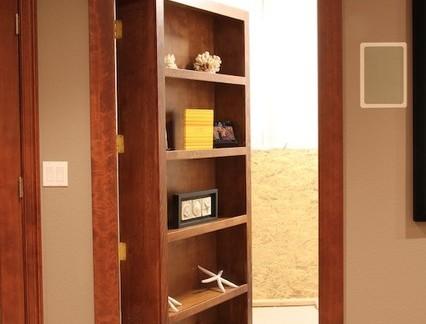 地下室中式风格隐形移门置物架效果图欣赏