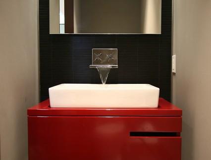黑红色调简约洗手台梳妆镜图片集锦