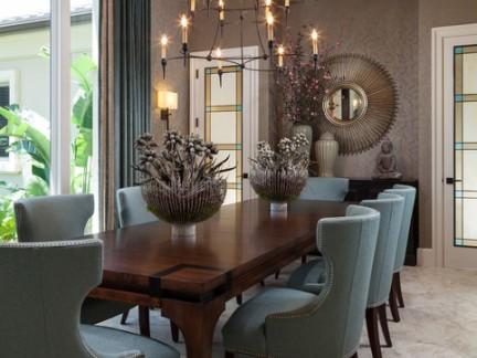 典雅欧式风格餐厅餐桌桌摆及吊灯美图赏析