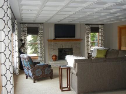大型美式别墅客厅集成吊顶图片欣赏