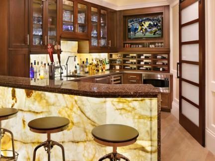 中式古典风格酒吧时尚吧台实景图