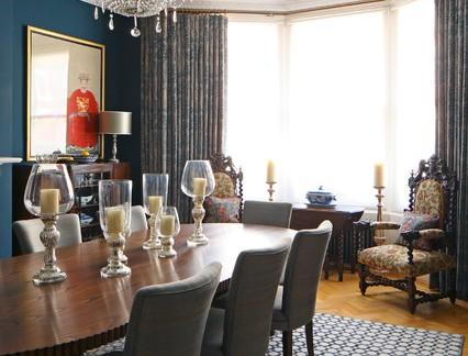 美式风格复式楼餐厅飘窗窗帘装修设计