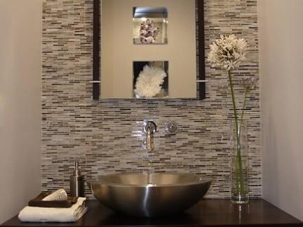 100平米三居室洗手台背景墙图片欣赏