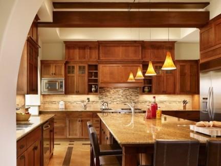 工匠风格开放式厨房吊顶装修设计