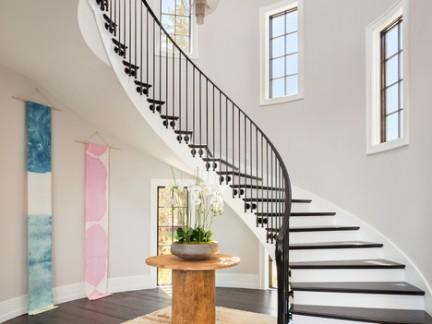 现代简约欧式风格大户型别墅楼梯设计特效 图显示