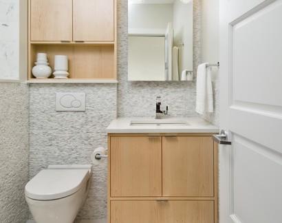 柔和色调小户型卫生间洗手台装修图片