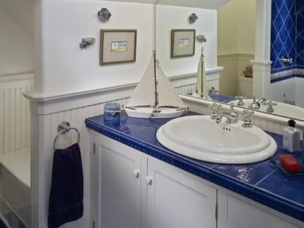现代地中海风格四居室卫生间洗手台特效